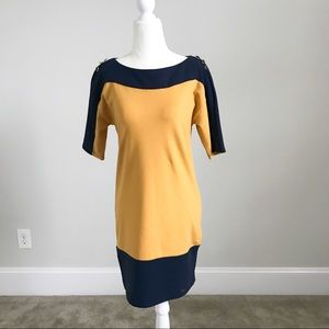 French Connection Navy/Yellow Dress